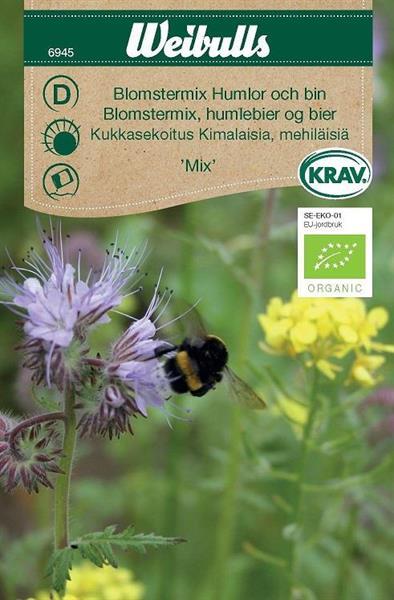 Blomstermix 'Humlor och bin' Krav Organic