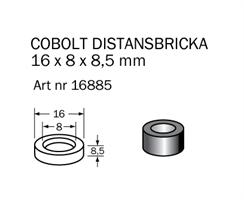 Distansring 16x8x8,5 mm