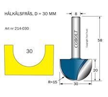 Hålkälsfräs R=15 D=30 L=20 TL=58 S=8