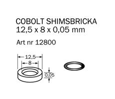 Shims-bricka 12,5 x 8 x 0,05 mm