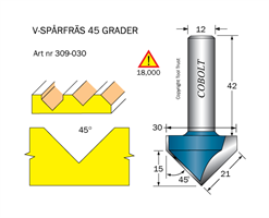 V-spårfräs 45° L=15 F=21 D=30 S=12