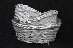Planteringskorg silver m rosett 3 set