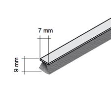 Børstelist 7x9x2500 mm grå u/tape