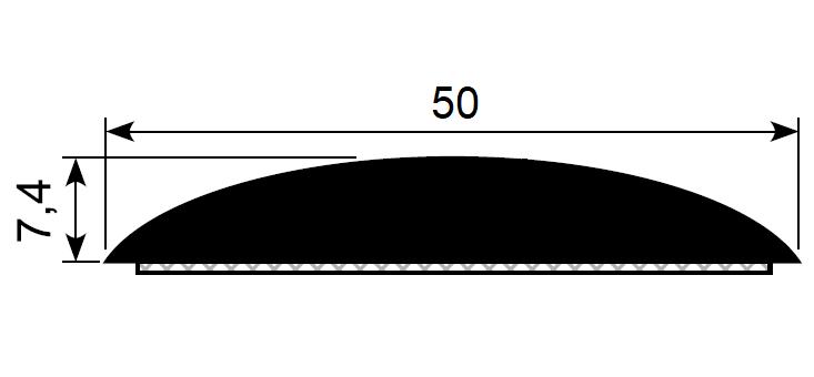 Trimlist / veggbeskytter 50x7 mm sort - Løpemeter