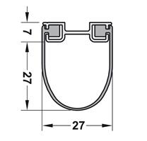 Lukeprofil 34x27 mm sort m/alu profil - 2120 mm