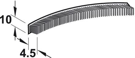 Børstelist 10x4,5 mm grå m/tape - 10 meter