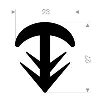 T-profil 23x27 mm sort EPDM - Løpemeter