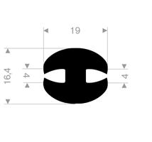 H-profil 4/19x16,4 mm sort EPDM - Løpemeter