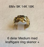 PUZZELRING 6 Delad MEDIUM+ Kraftigare ringskenor 13gr 18 K GULD