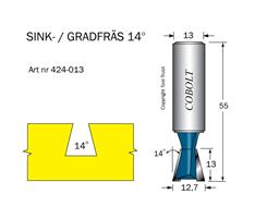 Sinkfräs 14° D=12.7 L=13 TL=55 S=13