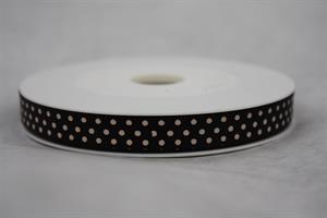 Band 10 mm 25 m/r svart med vita prickar