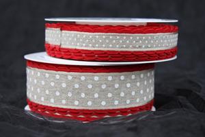 Band natur/röd/vit prick olika bredder