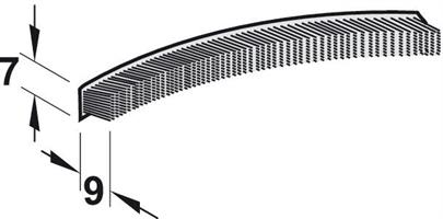 Børstelist 7x9 mm grå m/tape - Løpemeter