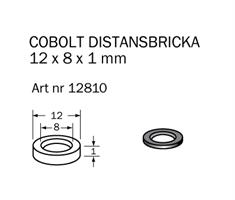 Distansbricka 12 x 8 x 1 mm