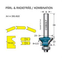 Pärl- & Radiefräs R=2.5 L=13 S=8