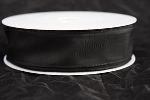 Band 25 mm 25 m/r svart taft med tråd
