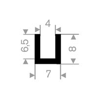 U-profil 4/7x8 mm Sort EPDM - Løpemeter