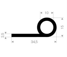 P-profil 34,5x15 mm sort EPDM - Løpemeter