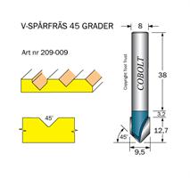 V-spårfräs 45° D=9.5 L=5 S=8