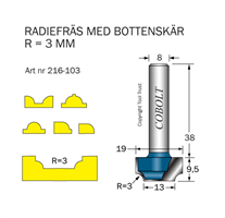 Radiefräs R=3 L=9.5 S=8