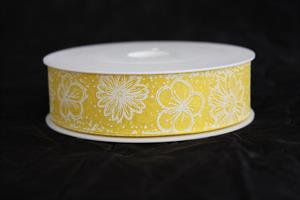 Band 25 mm 18 m/r flowers gul/vit ej tråd