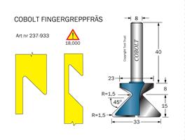 Fingergreppsfräs 45° D=33 L=23 S=8