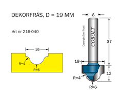 Dekorfräs D=19 R1=4 R2=6 L=12 S=8