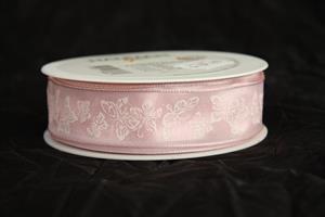 Band 25 mm 20 m/r fjärilar rosa/vit med tråd