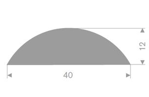 D-profil 40x12 mm grå TPE - Løpemeter