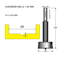 Kvistborr HSS D=60 TL=158 S=12.7