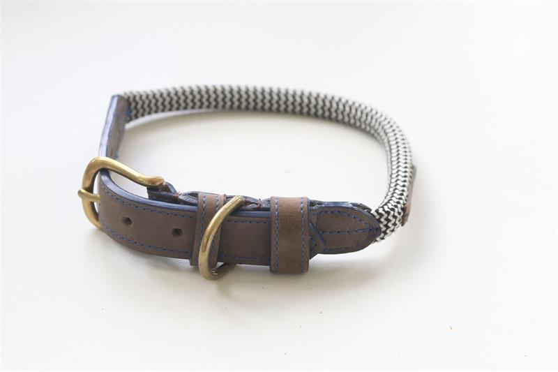 Hundhalsband svartvit/skinn/blå M 38-46CM