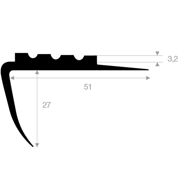 Trappenese 51x27 mm sort PVC - 150 cm