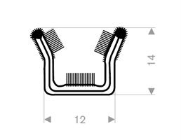 Vindusglidelist 12x14 mm sort - Løpemeter