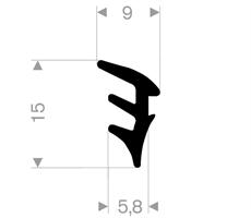 Glasspakning 9x15 mm sort EPDM - Løpemeter