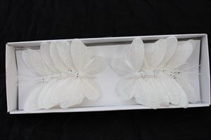 Fjäril vit glitter 8 cm 12/fp