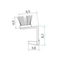 Børstelist 6,5x4 mm sort - Løpemeter