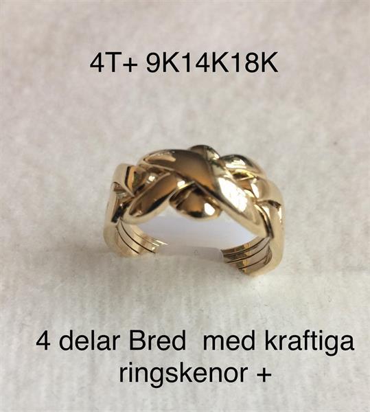 PUZZELRING 4 Delad Bred+ Kraftig ringskenor c:a 10gr 14K GULD