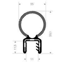Kantprofil ST 36.812 sort (9-10,5 mm) - Løpemeter