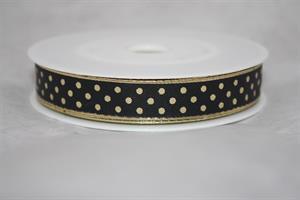 Band 15 mm 25 m/r svart med guldprickar