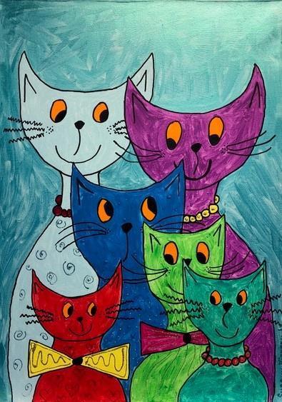 Bild på färggranna katter