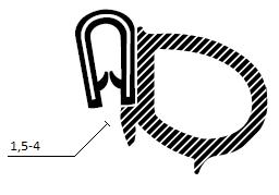 Kantprofil  ST 36.102 sort (1,5-4 mm) - Løpemeter