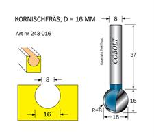 Kornischfräs R=8 D=16 L=16 S=8