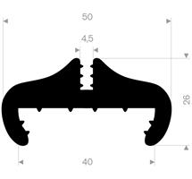 Klemprofil 4,5+40 mm sort EPDM - Løpemeter