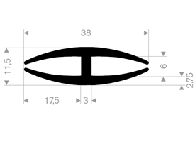 H-profil 6/38x11,5 mm Sort EPDM - Løpemeter