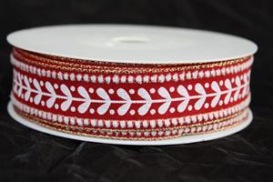 Band 25 mm 15 m/r röd mistel med tråd