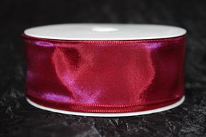 Band 40 mm 25 m/r taft vinröd/lila med tråd