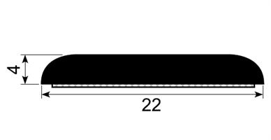 Trimlist / veggbeskytter 22x4 mm sort - Løpemeter