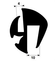 Klemprofil 4+10 EPDM sort veritas - Løpemeter