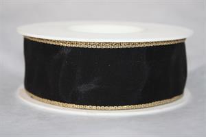 Band 40 mm 25 m/r svart/guldkant med tråd