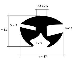 Klemprofil 16+5 EPDM sort - Løpemeter